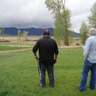 Shoshone-Bannock artist Willie Preacher surveying Laurin, MT, the site of the Virginia City Treaty of September 24, 1868.