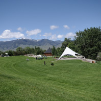 The Sacajawea Cultural Center, looking toward the Beaverhead range in Salmon, ID.