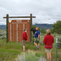 NAKA Productions film crew at the base of the Chief Tendoy Memorial, near Tendoy, ID.