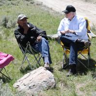 Professor Svingen speaking with Snookins Honena atop Lemhi Pass.