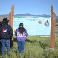 Shoshone-Bannock family overlooks Tendoy Park in Virginia City, MT.