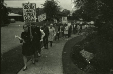 A photo of protesters at WSU.
