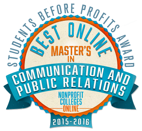 Best online masters in comm and PR badge