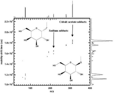 Two-dimensional IMS-Tof-MS spectrum showing the separation of methyl-a-and ß-D- galactopyranosides