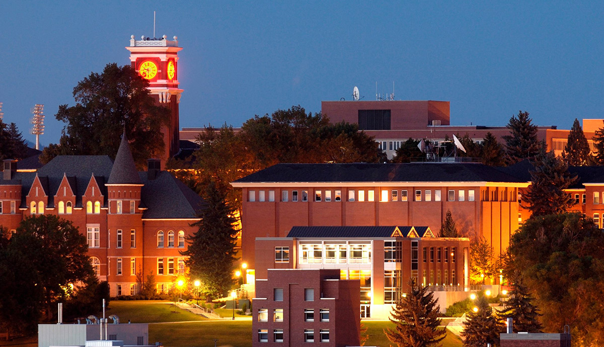 WSU Campus at dusk