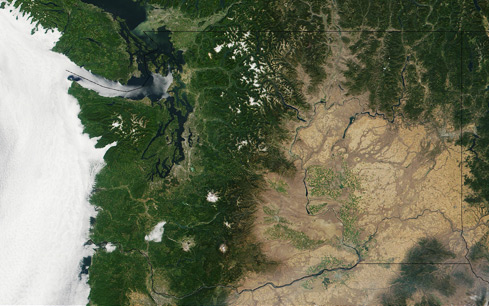 Satellite view of Washington State