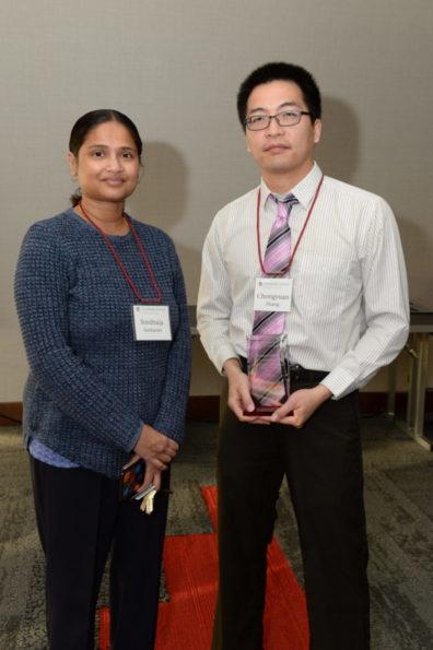 Chongyuan Zhang & Dr. Sindhuja Sankaran with award