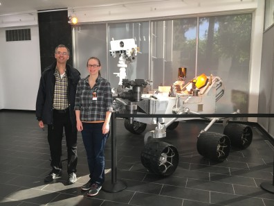 Peter and Maren in front of a full scale model of the Curiosity rover at JPL.