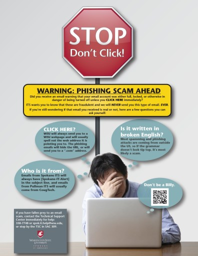 Stop! Don't Click Poster for cyber security.