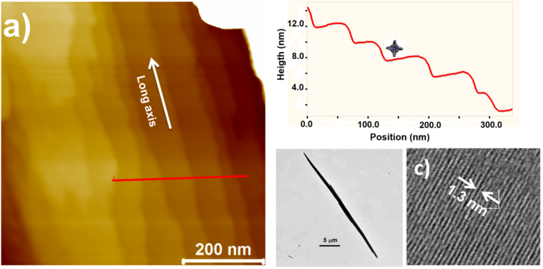 Atomic force microscopy and transmission electron microscope images of a nanocrystal showing single molecule ordering and single molecule step edges.
