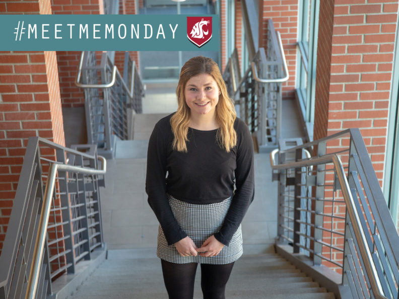 Jordan Ryan standing on the stairs and smiling. A graphic over the photo says #MeetMeMonday.