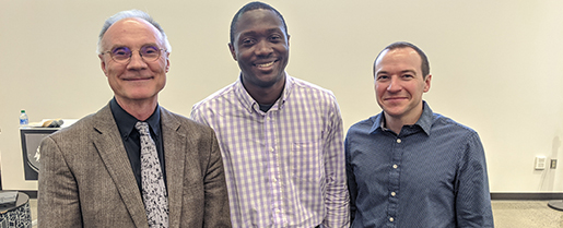 Samuel Aina with Mike Trevisan and Brian French