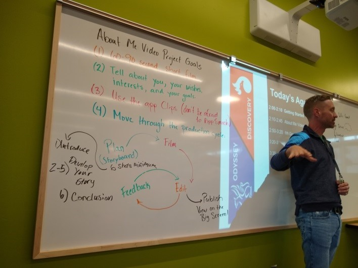 Robert Mattson leads students in a planning session. He's standing in front of a white board with a lot of writing.