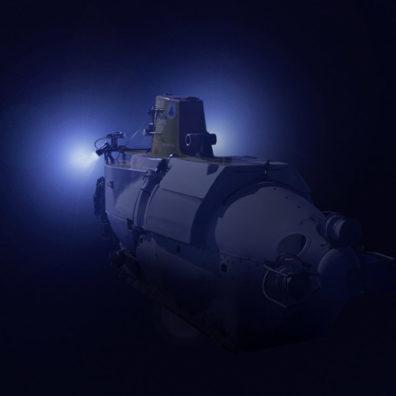 Fisheye view of Alvin near the ocean floor. Photo Deep-sea Photography and Mark Spear.