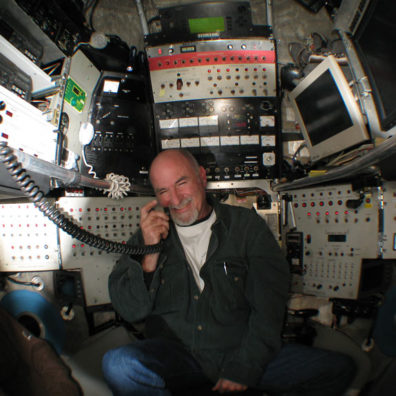 WSU's John Rutherford in Alvin's cabin. Photo Mark Spear, Woods Hole Oceanographic Institute.