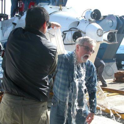 Professor emeritus Paul Schroeder gets a wet welcome back.Photo courtesy John Rutherford.