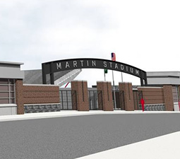 Artist's rendering of new Martin Stadium entrance. Courtesy ALSC Architects/Grant Construction.