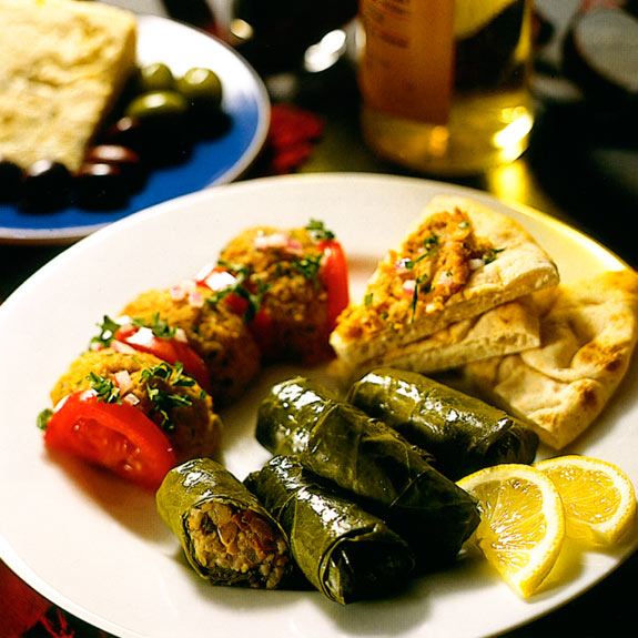 Grape leaves stuffed with lentils and dried fruits. from The Pea & Lentil Cookbook: From Everyday to Gourmet published by the USA Dry Pea & Lentil Council, Randall Duckworth, editor. Photos from the book, by Mark LaMoreaux