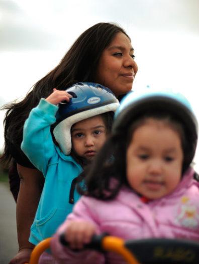 Sylvia Guzman with her two children.