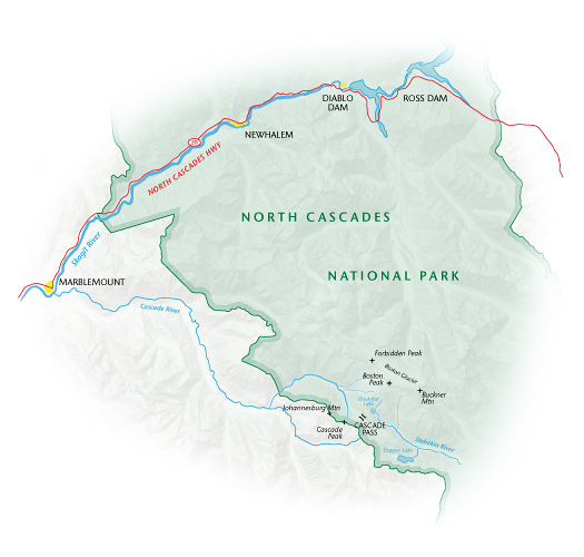 Cascade Pass. Staff illustration.