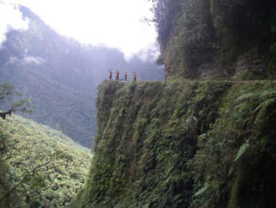 One of the sheer cliffs on the Bolivian road where Derren Patterson '07 leads bicycle tours. Courtesy Derren Patterson