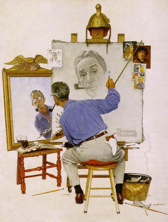 Norman Rockwell, Triple Self-Portrait, 1960, oil on canvas