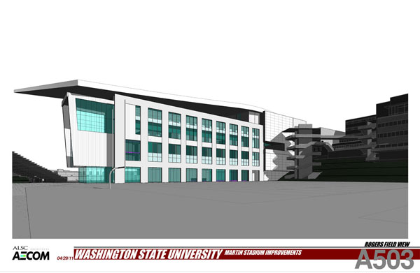Looking southeast from Rogers field. CUB elevator tower visible. Rendering provided by ALSC Architects.