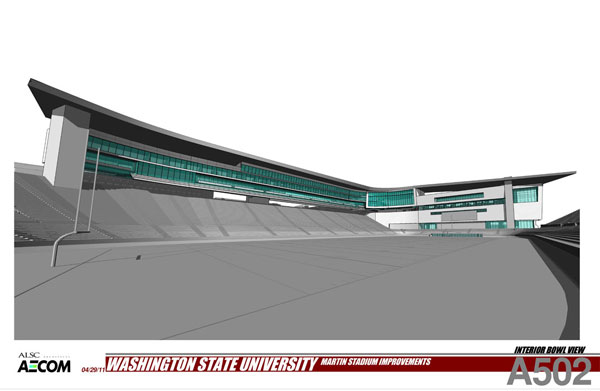 From inside of the stadium looking towards southwest. Rendering provided by ALSC Architects.