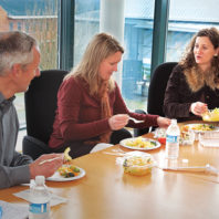 Rebecca Portnoy, Mike Morgan, Katie Witkiewitz eat lunch at WSU Vancouver