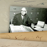 Paul Kies and parts of his autograph collection at WSU
