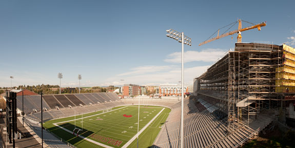 Martin Stadium construction in 2012