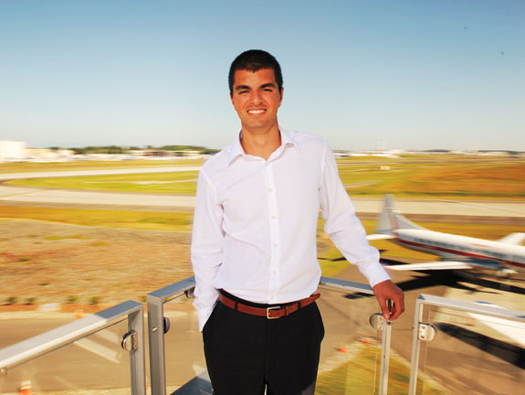Engineering student Ben Hazari at Boeing Field