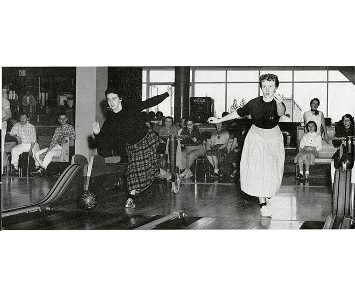 WSC bowling team practicing in 1959