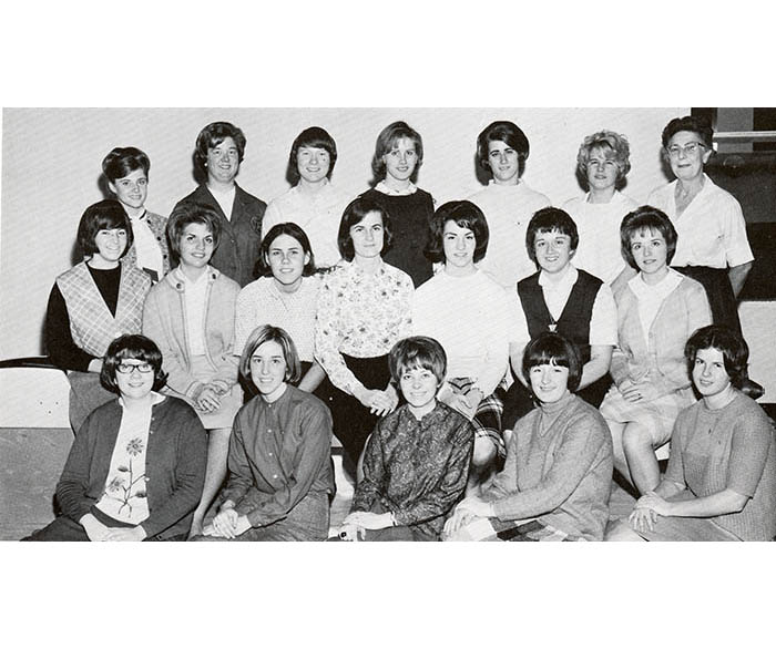 WSU Women's Recreational Association Bowling Team members from 1968