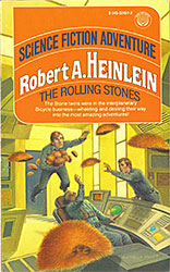 Robert Heinlein: The Rolling Stones. A Del Rey Book, Published by Ballantine Books. Cover art for 1977 edition by Darrell K Sweet