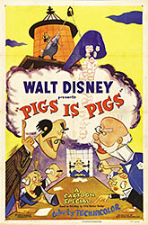 Movie poster for Pigs is Pigs, a 1954 Disney film