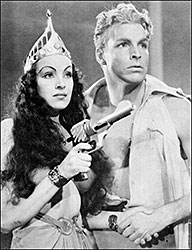 Princess Aura and Flash Gordon, played by Priscilla Lawson and Buster Crabbe in the 1936 film serial.