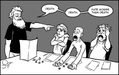Comic of Rothfuss and fans role-playing game. Courtesy Nate Taylor