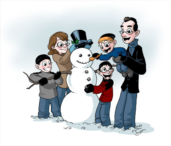 Family making snowman. Courtesy Nate Taylor