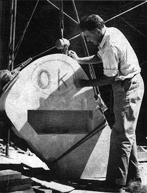 Sculptor of Nature Boy, Dudley Pratt, in the November 1949 WSC Powwow