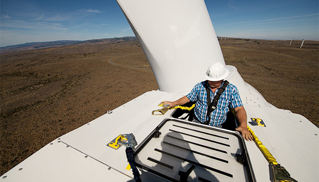 Dan Rottler on Wild Horse windmills. Photo Robert Hubner
