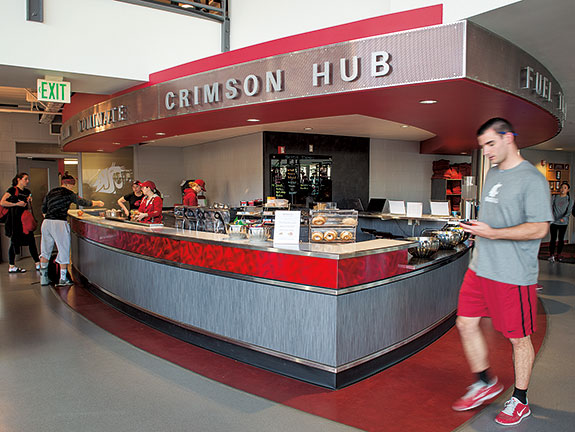 What's New? The Crimson Hub delivers nutritious food to athletes in the Bohler weight room. Read about sports nutrition here. Photo Robert Hubner
