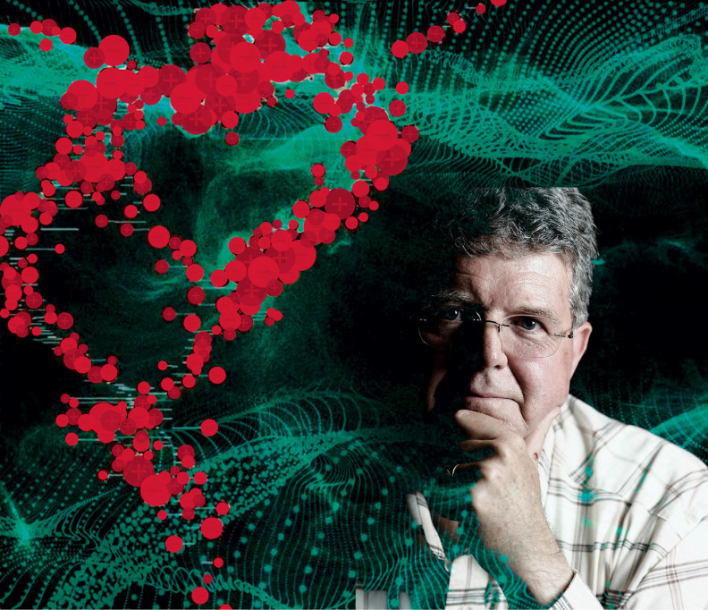 WSU chemistry professor Herbert Hill. Photoillustration with portrait by Robert Hubner