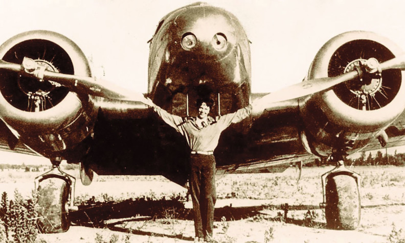 Amelia Earhart with her Lockheed 10-E Electra Special (Courtesy The Museum of Flight)