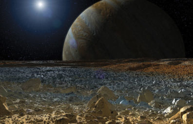 Illustrated view of Jupiter from Europa. Courtesy NASA/JPL-Caltech