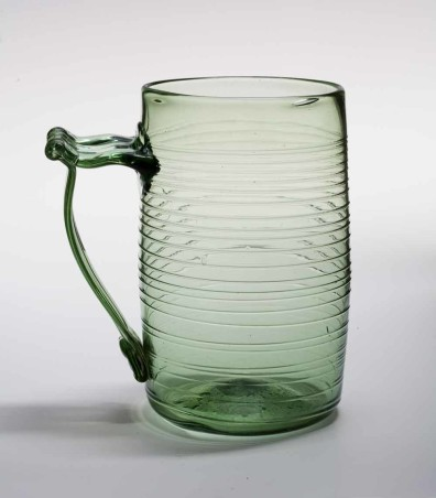 Glass cider and ale mug made by the Wistarburgh glass factory c. 1750s. Wistarburgh was the first successful glass factory in the colonies. From the Malcolm L. Polis Collection, courtesy Glass International.