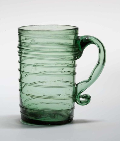 Colonial glass mug from the the Malcolm L. Polis Collection, Plymouth Meeting, Pennsylvania.