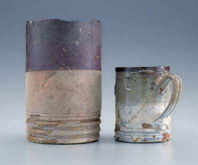 Salt-glazed stoneware mugs, Yorktown, Virginia, 1720-1745. Courtesy National Park Service, Colonial National Historical Park, Yorktown Collection