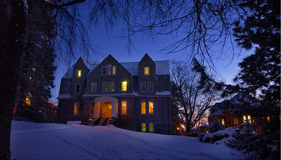 Stevens Residence Hall in snowy twilight. Photo Shelly Hanks