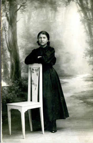Portrait of Marie Bertier, a French orphan for whom the girls of Stevens Hall paid normal school expenses for two years so that she could support herself. Date unknown.